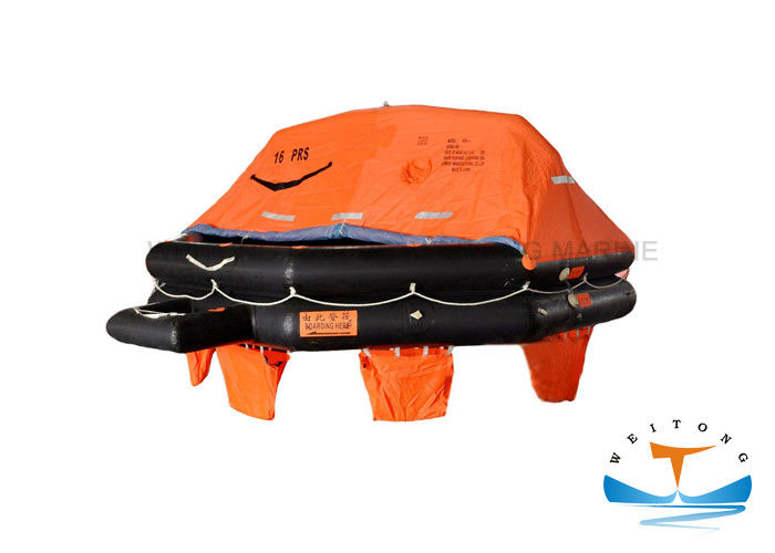 Safe Emergency Raft For Boat , 16 Man Liferaft Watertight Material Large Capacity