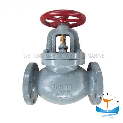 Precision JIS F7375 Screw - Down 10k Marine Globe Valve For Ship With Flange Ends